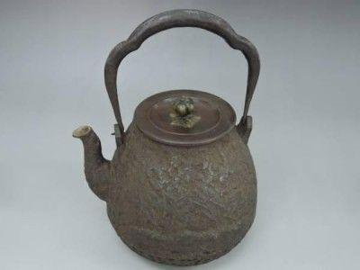 龍文堂造 三明 鉄瓶 銅蓋 茶道具 アンティーク